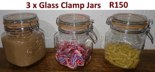 3 Glass clamp jars