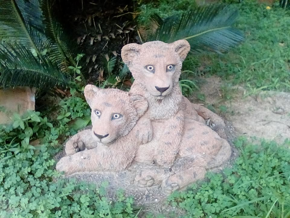 Lion cubs garden decor