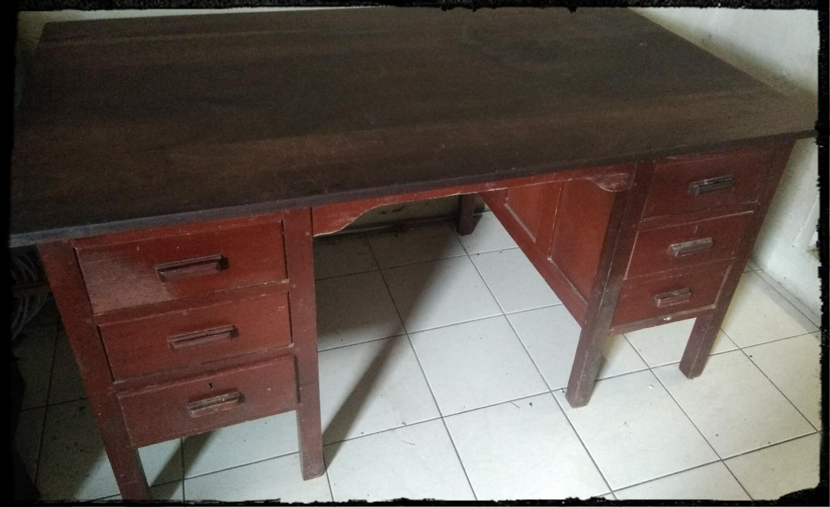Antique Solid Teak Wood Office Desk