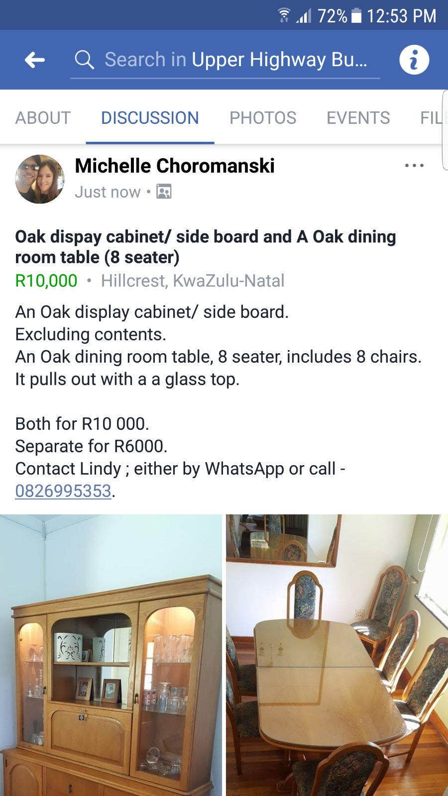 Lovely oak side board/cabinet and dinning room table