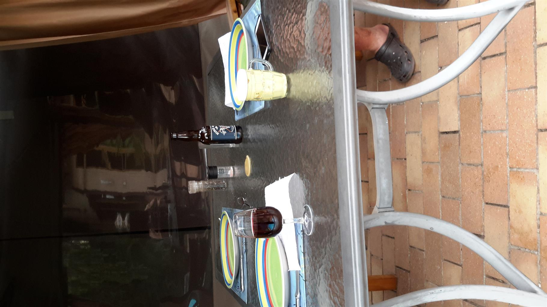 Aluminium and tempered glass tables x2