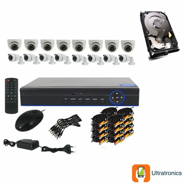 Full HD AHD CCTV Kit - 16 Channel CCTV DIY camera system - 8 Dome and 8 Bullet Cameras plus 500 GB Hard Drive