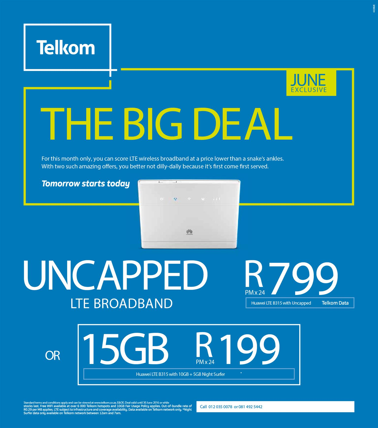 Telkom Uncapped Lte R799 Month Contract Takeover Junk Mail