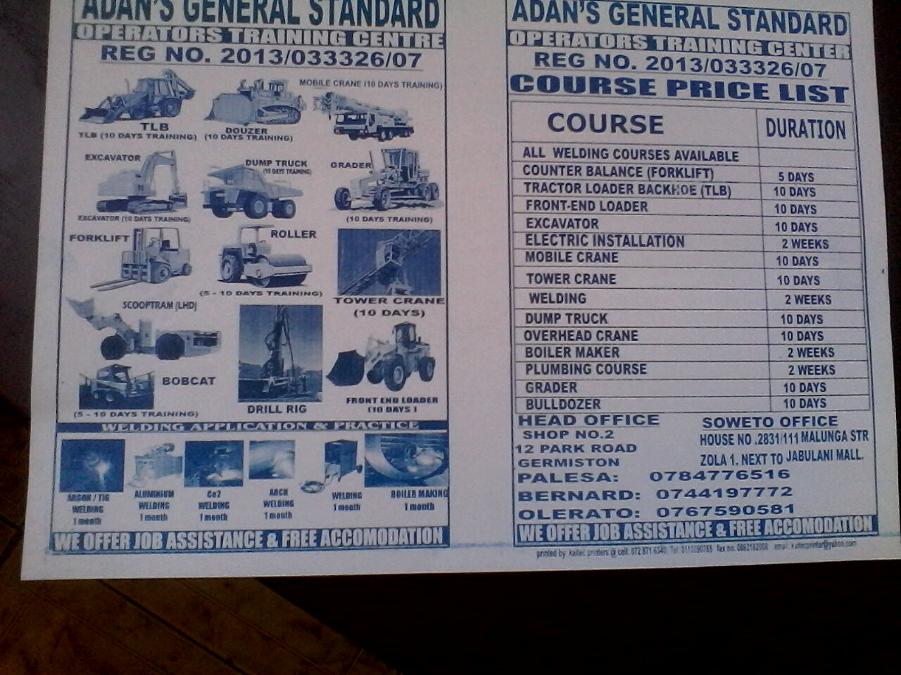 best training in fork liftr,mobile crane,tlb,over head crane,call