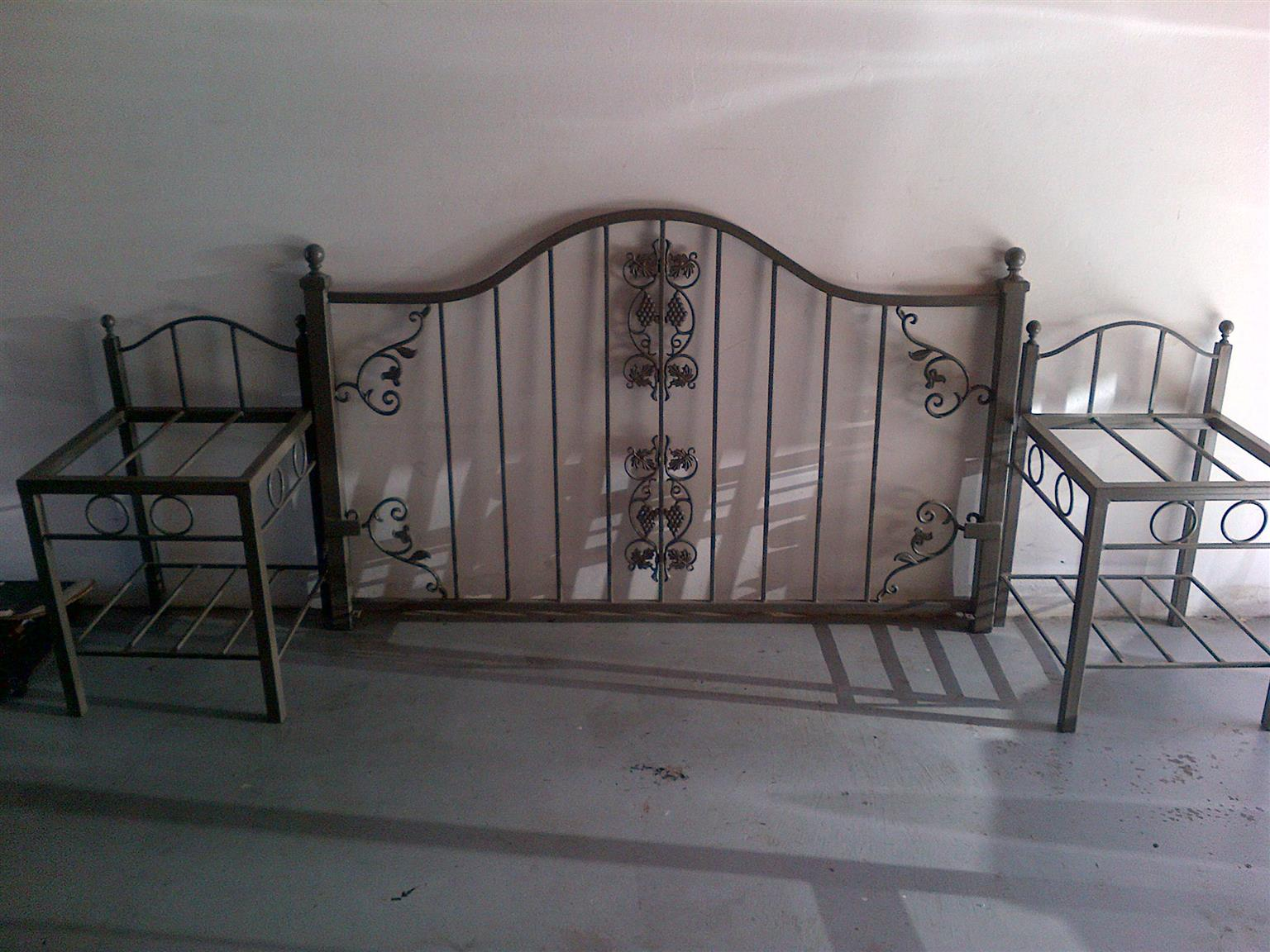 Wrought Iron Head Board with Pedestals