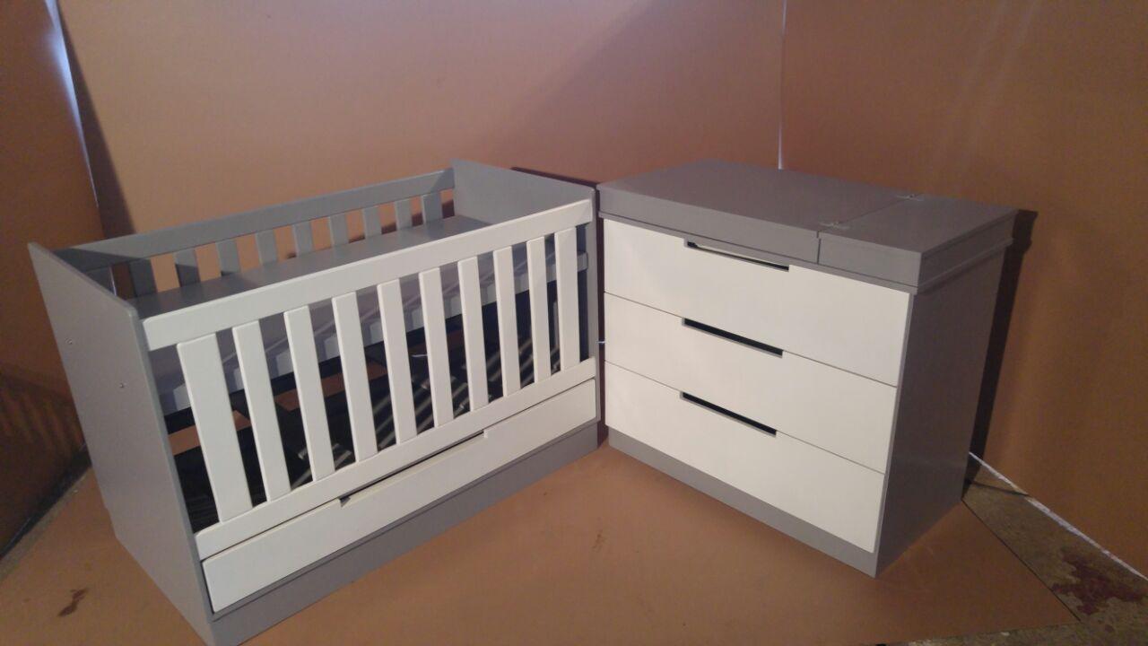 Foxglove Baby Squareline Cot and Compactum Combo