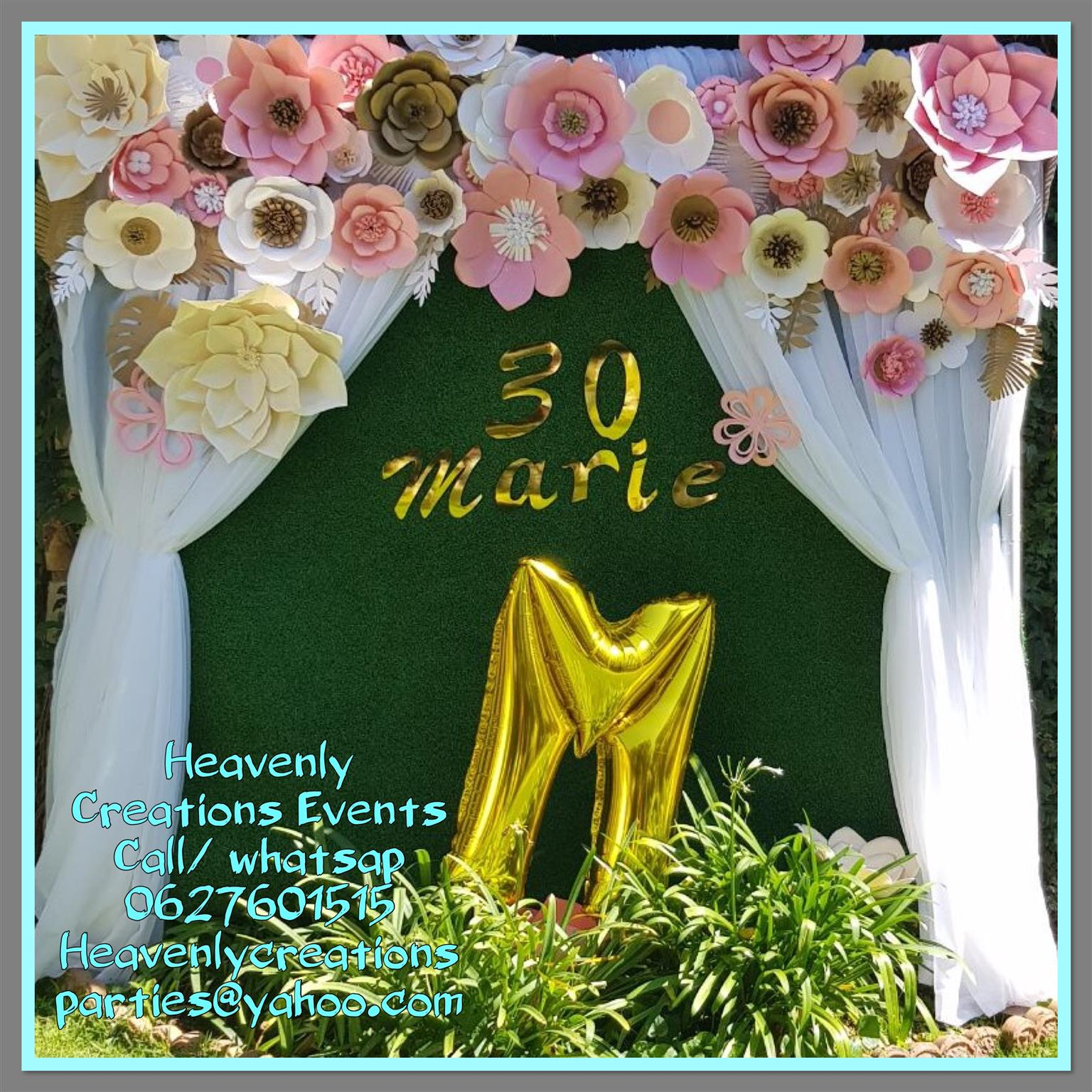 Backdrop Hire With Paper Flowers Junk Mail