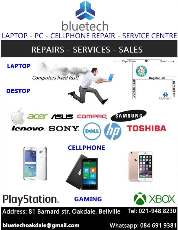 Laptop repair Center - Bluetech 021 9488230 - Oakdale Bellville