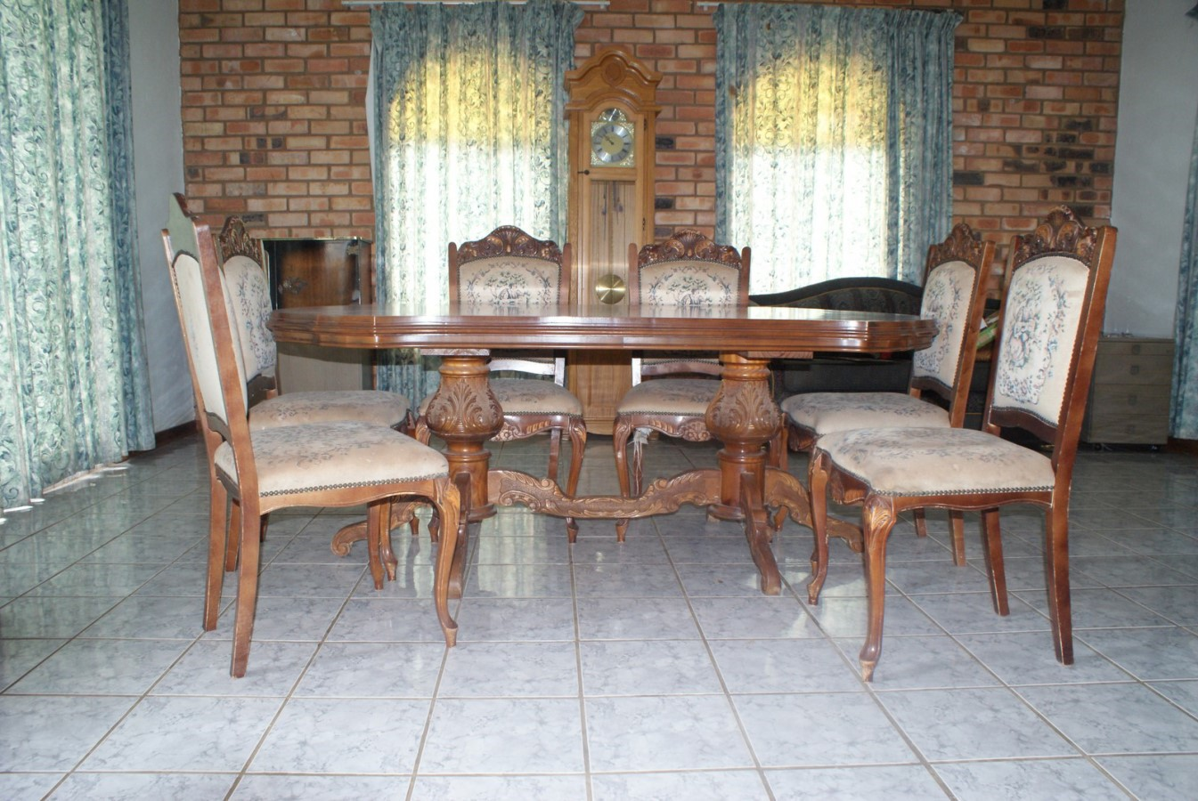 Dining room suite, 6 seater, carved wood
