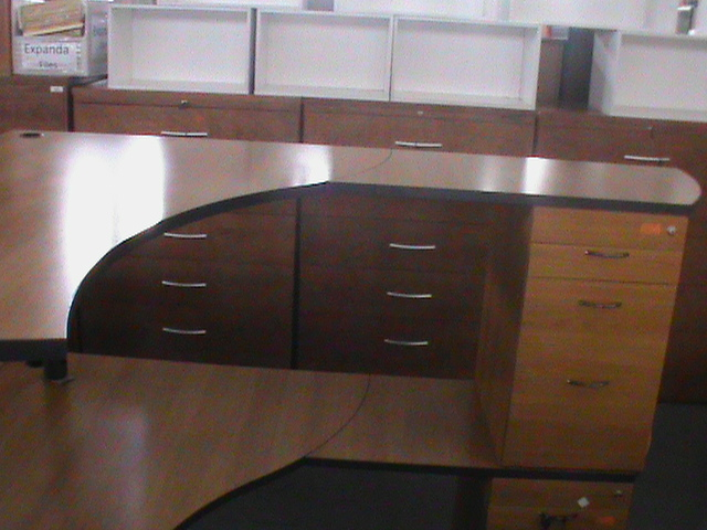Cherry wood curved desk plus pedestal