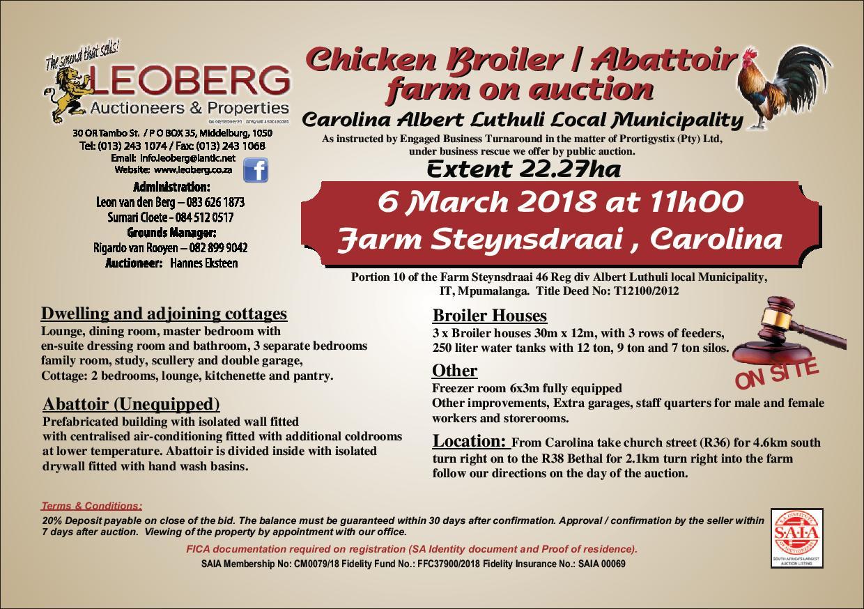 CHICKEN BROILER / ABATTOIR FARM ON AUCTION - 6 MARCH 2018 AT 11H00 - CAROLINA