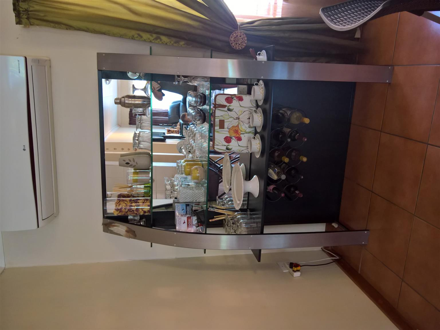 Stainless Steel Bar with Mirror Wall Unit and 3 matching Bar Stools