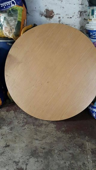 Small wooden round table