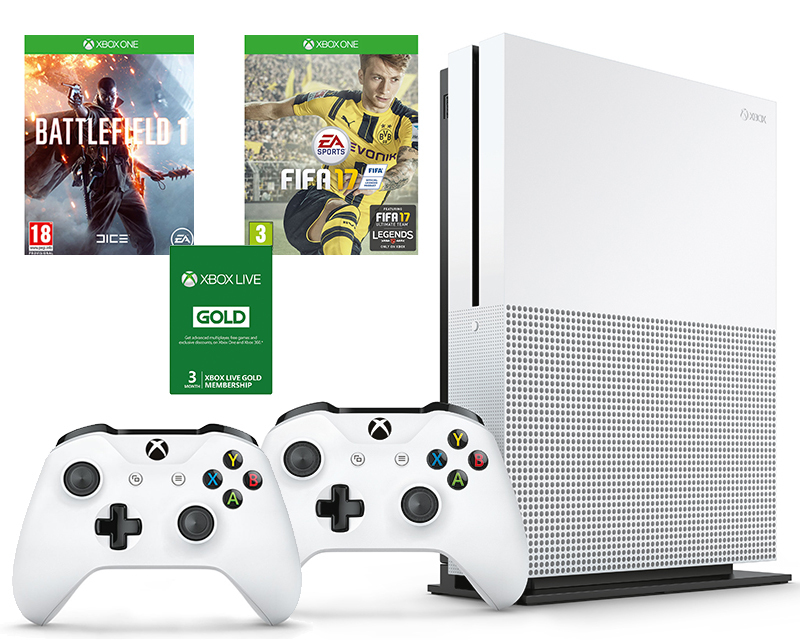 MICROSOFT XBOX ONE S 1TB + 2 CONTROLLERS + 4 GAMES black friday promo