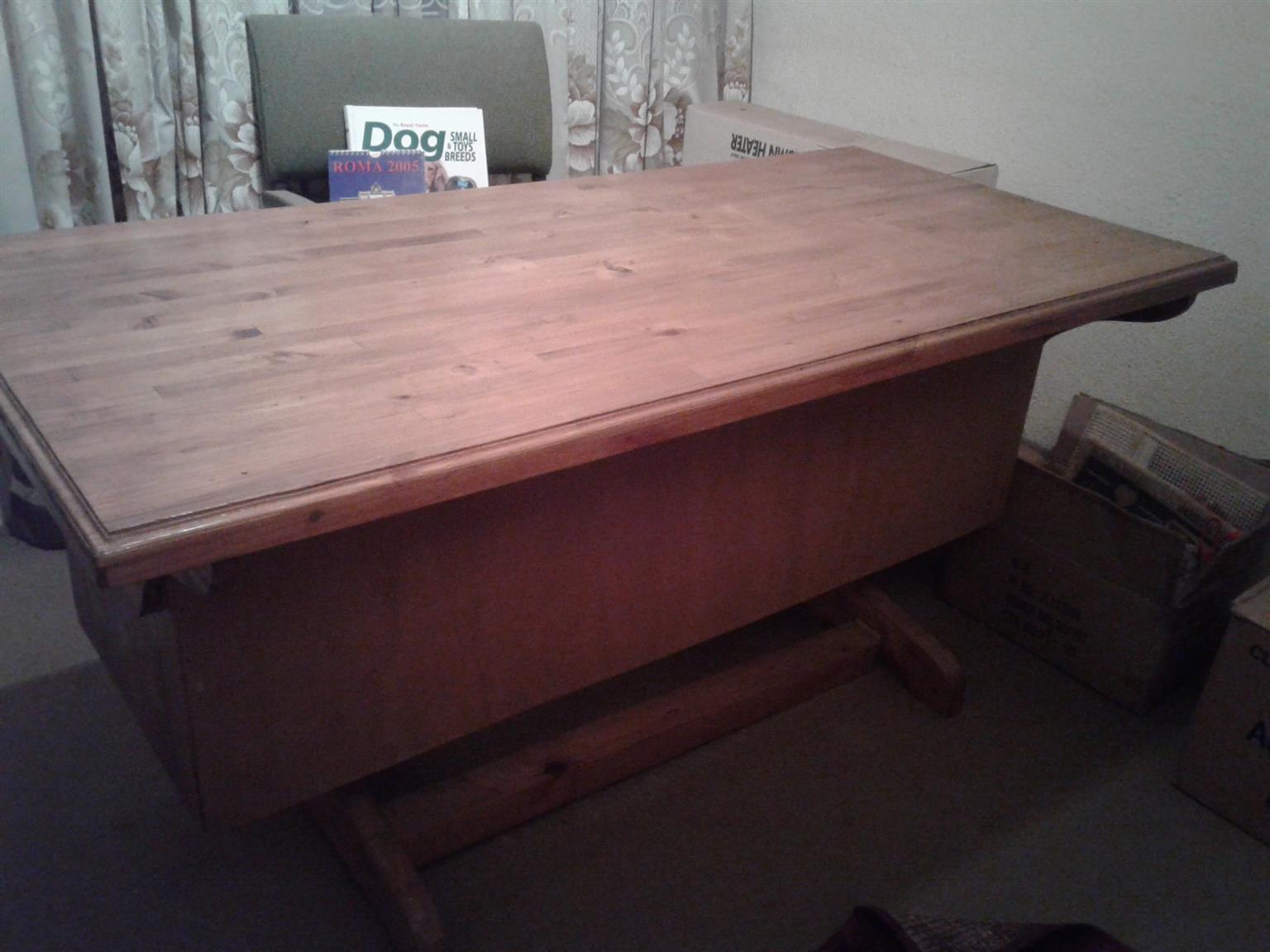 6 Drawer solid pine large desk