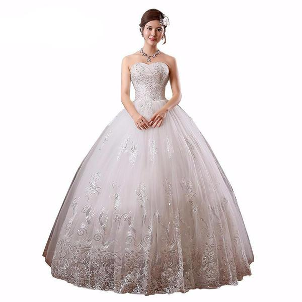 Affordable Sequined Strapless Lace Wedding Dress Vestidos De Noiva Plus Sizes