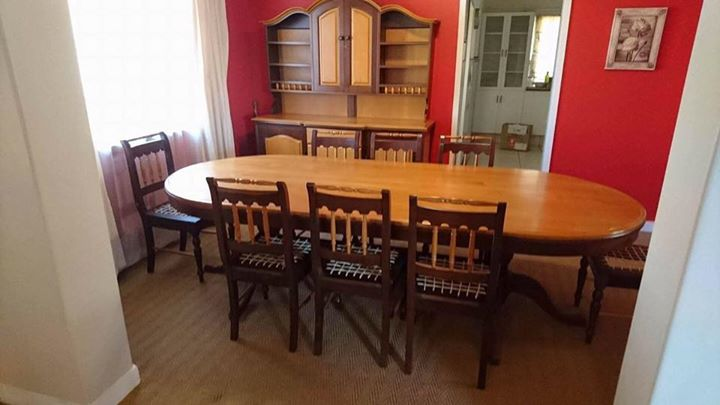 Antique Solid Yellow Wood and Imbuia Dining Set