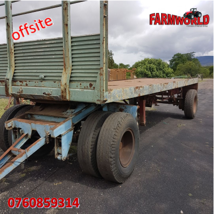 S2799 Green Unknown Make Double Axle Flatbed Farm Trailer / Dubbel As Platbak Plaas Wa Pre-Owned Trailer
