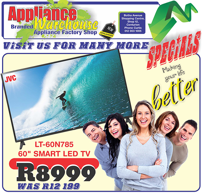 "Appliance Warehouse - 60"" JVC TV for sale"