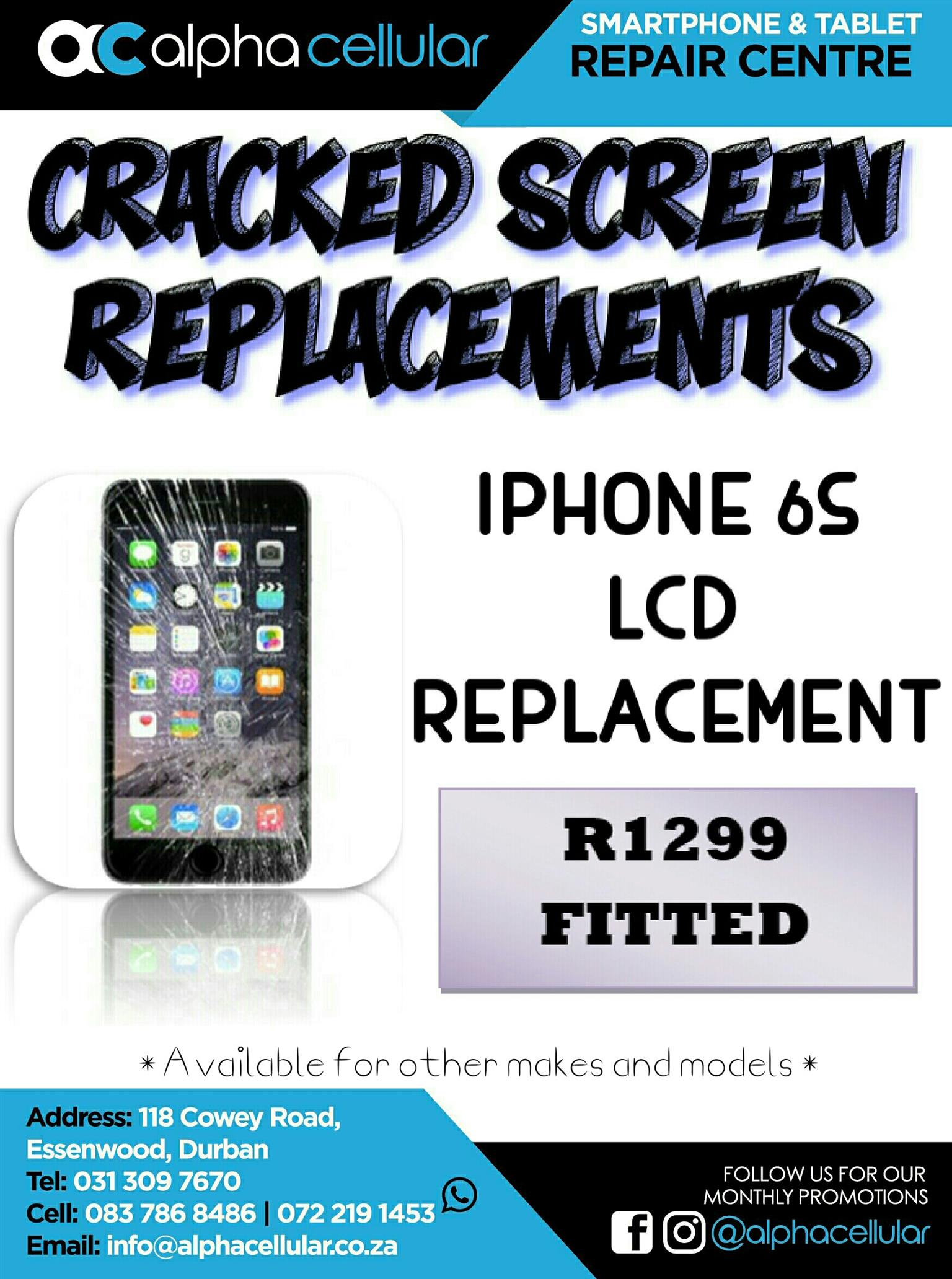 IPHONE 6s CRACKED SCREEN REPLACEMENTs - DURBAN