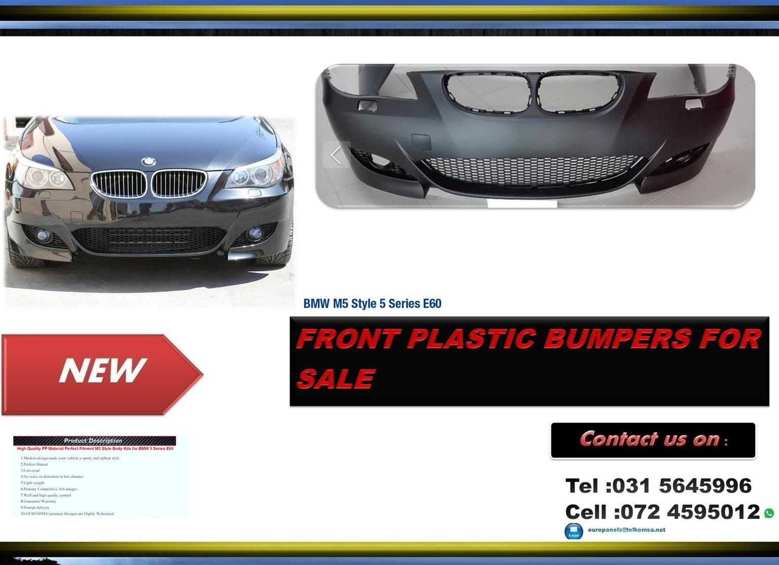 Bmw E60 M5 Style Brand New Plastic Front Bumpers For Sale Junk Mail