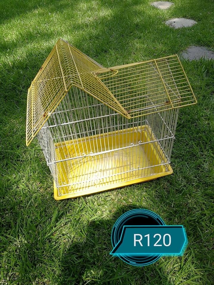 White and yellow budgie cage