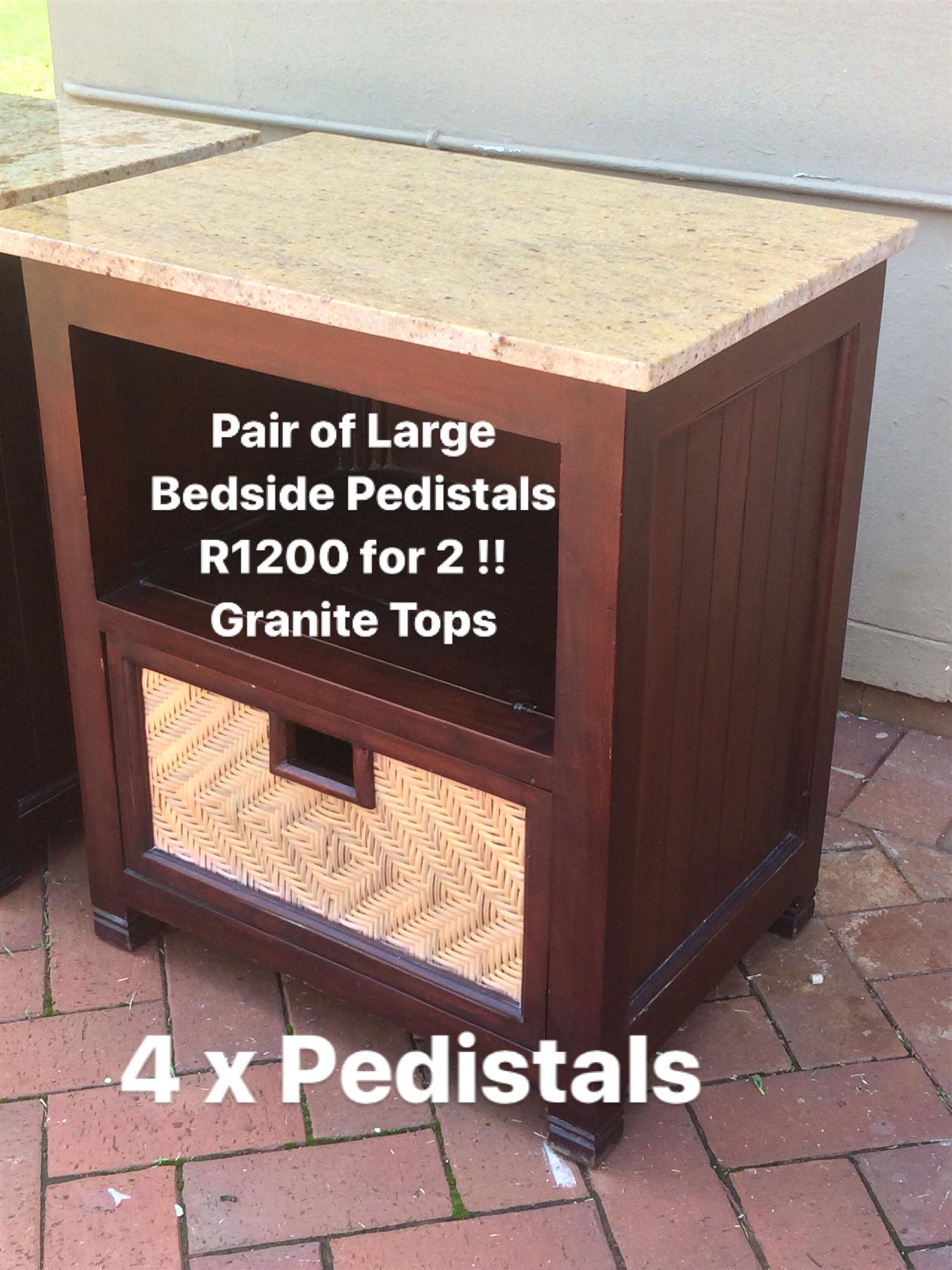 4 x Large Bedside Pedistals with Granite Tops