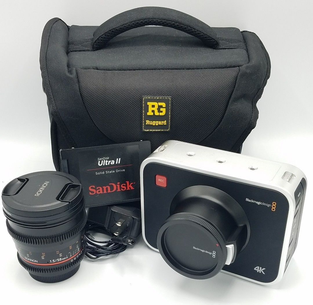 Blackmagic Design Production Camera 4K EF + Rokinon 50mm T1.5 & 256GB SSD!!!
