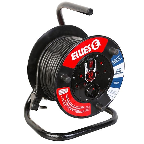 3-Way 20m Extension Reel with Medium Surge Protection