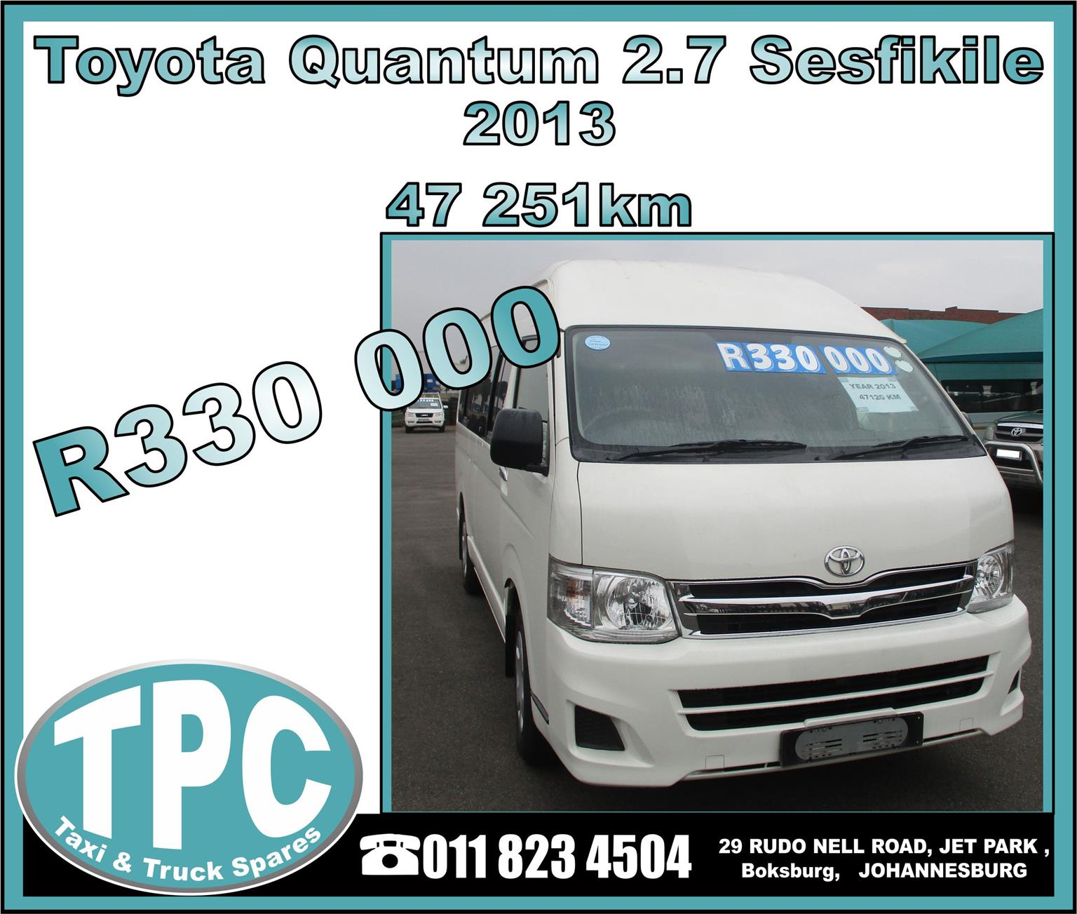 Toyota Quantum 2.7 Sesfikile 2013 - Excellent Condition - TPC Rebuild Yard.