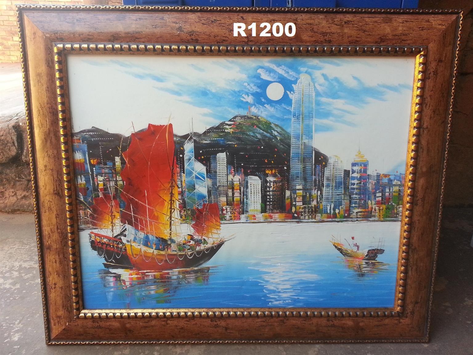 Hong Kong Blues Oil Painting (885x725)