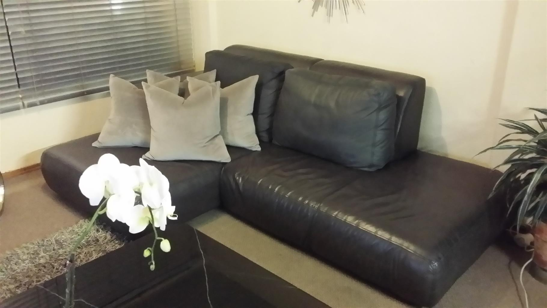Charcoal Grey Leather Couch for Sale