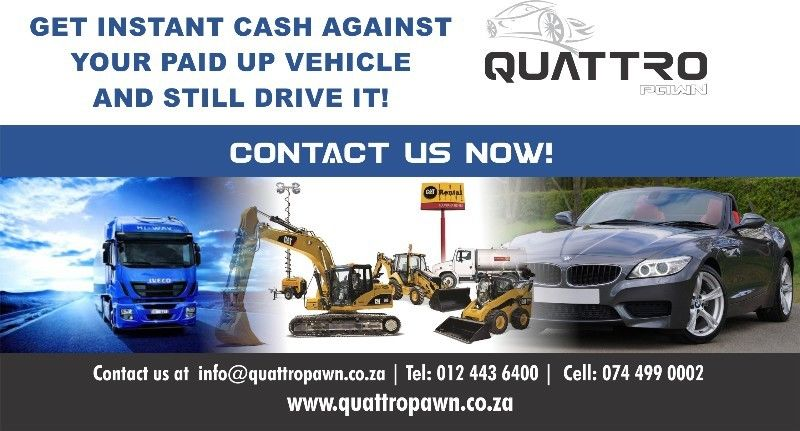 Pawn your vehicle and get cash for your fully paid up vehicle and STILL DRIVE IT!
